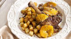 Gestoofde eendenbout met sinaasappel en gebakken aardappeltjes met tijm | foodies magazine