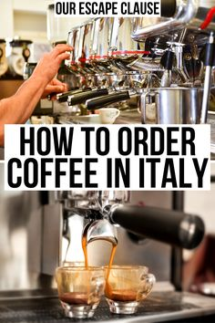 Wondering exactly how to order coffee in Italy--and even want to try doing it in Italian? This guide will have you feeling like an expert in Italy's coffee bars in no time. Italian Drinks, Italian Cafe, Italian Recipes, Italy Food, Italy Italy, Italy Vacation, Vacation Trips, Coffee Shop, Coffee Bars