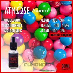 Atmose (Amaru) – потрясающий вкус сладкой жвачки переполненной свежестью сочных тропических фруктов. Прекрасная передача вкуса настоящих фруктов