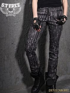 Gothic Punk Printing Straight-Leg Pants for Women - Devilnight.co.uk