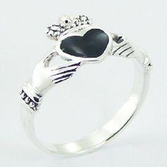 Sterling silver Claddagh ring black enamel heart  size 7us  folklore symbol PSA