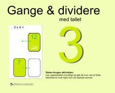 """Smart Notebook-lektion fra www.skolestuen.dk - """"Gange og dividere med tallet 3"""" - Træn de små tabeller - Løs regnestykket mundtligt og tjek dit svar ved at flytte talbrikkerne mod højre ind i de stiplede rammer."""