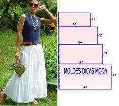 Discover thousands of images about Saia branca com babados - Moldes Moda por Medida Easy Sewing Patterns, Sewing Tutorials, Clothing Patterns, Dress Patterns, Techniques Couture, Sewing Techniques, Fashion Sewing, Diy Fashion, Sewing Clothes