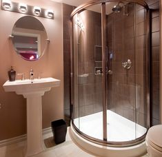 Corner shower idea, Rileighs bathroom. This would be perfect for that small space.