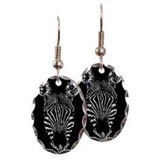 Zebra Earring Oval C