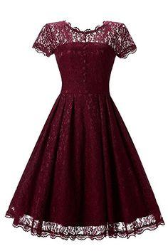 3fb692b8f951 Gigileer Elegant Damen Kleider Spitzenkleid Cocktailkleid Knielanges  Vintage 50er Jahr hochzeit Party weinrot S  Amazon