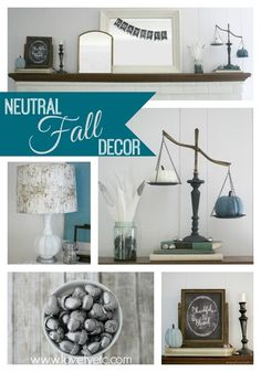 Decorating for fall using blues and whites.  Fall doesn't have to be all about red and yellow, you can bring fall into your home using the colors you already love!