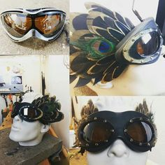 Custom ordered goggles for burning man. Made by Tineola Burning Man, Round Sunglasses, Feather, Heart, Fashion, Quill, Moda, Feathers, Fasion