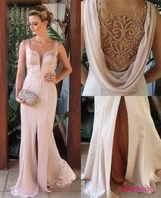 Prom Dresses, 2018 Sleeveless Pearl-Pink Split Elegant Beadings Evening Dress PD20181138