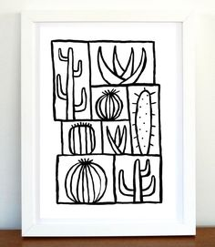Cactus Art Print Black and White Art Abstract by ArtFactoryGallery