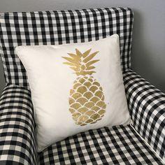 The Velvet Lemon, gold foil, heidi swapp, minc machine, pineapple, pillow, home decor.