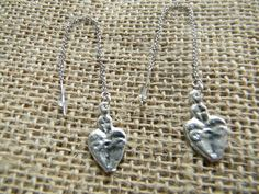 Silver Sacred Heart Milagro Earrings on Pull Chains Approximately 2.25 inches (5.5 centimeters), but adjustable to 3.5 inches (9 centimeters)  #milagro #milagros #spirit #christian #catholic #religious #jewish #blessing #altars #altar #miracle #charm #charmed #blessed #divine #mexico #saints #mexican #sale #gift #custom #folk #art #handmade #artifact #faith #custom #cool #god #cross #prayer #chic #fashion #jewelry #silver #earrings #heart