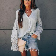Sexy Perspective Stitching Single Button V-Neck Shirt – Vestwiki Sexy Shirts, Casual Shirts, The Woman In White, Petal Sleeve, Distressed Denim Shorts, Types Of Collars, Types Of Sleeves, Button Downs