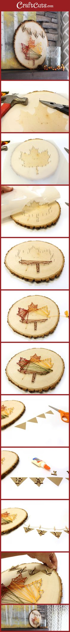 Fall String Art | Leaf String Art | Wood Slice DIY | CraftCuts.com