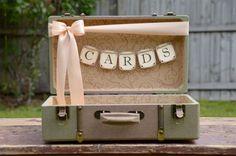 peach   green vintage suitcase wedding card holder - brides of adelaide