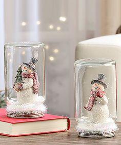 Look what I found on #zulily! Snowman in Mason Jar Figurine Set #zulilyfinds