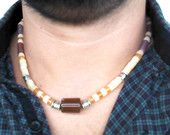 Men Necklace Jade Agate Calcite and Orange Aventurine Gems - New Custom Handmade Gemstone Necklace - surfer necklace - Tribal Necklace