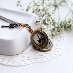 Woodland  Pheasant Locket Necklace  Bierds Necklce by OPStyle, $25.00