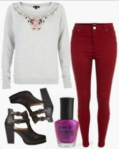 Colored skinny jeans make any basic sweatshirt perfect for travel! Styled by Chang on  WiShi.me (where friends style friends for upcoming events) Follow our styling boards for all the inspiration you need for any event!