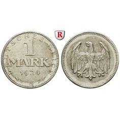 Weimarer Republik, 1 Mark 1924, G, vz, J. 311: 1 Mark 1924 G. J. 311; vorzüglich 25,00€ #coins