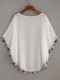 SheIn offers White Tassel Trimmed Chiffon Kimono & more to fit your fashionable needs. Stylish Dresses For Girls, Stylish Dress Designs, Dresses Kids Girl, Girls Fashion Clothes, Teen Fashion Outfits, Chiffon Kimono, Chiffon Tops, Top Chic, Mode Kimono
