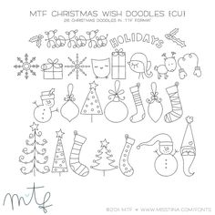 MTF Christmas Wish Doodles | MissTiina.com {Fonts} :: Illustration & Design, Digital Scrapbooking, Free Fonts, Tutorials and more!