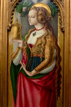 """Every so often, a woman in a painting catches our eye. So it was with this Mary Magdalen, painted around 1485 by Carlo Crivelli, and now in the Museum Boijmans van Beuningen in Rotterdam, Netherlands. The little plaque beside it tells us that the artist was from Venice but left that city """"for good after being imprisoned for adultery.""""  For more images from the museum, which curator Francesco Stocchi guided us around last week, visit http://lush-places.tumblr.com/"""