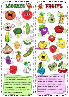 Fruits & Légumes fiche d'exercices - Fiches pédagogiques gratuites FLE