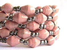 Paper Bead Jewelry - Bracelets - 7.5 inches - Set of 5 - #392 - Valentine's