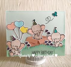 MFT Card Challenges: You've Been Spotted - January 2016 Homemade Birthday Cards, Kids Birthday Cards, Homemade Cards, Kids Cards, Baby Cards, Mama Elephant Cards, Elephant Birthday, Mft Stamps, Animal Cards