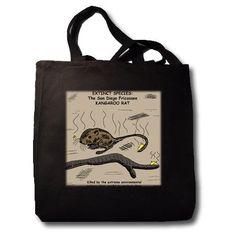 Rich Diesslins Funny General - Editorial Cartoons - San Diego Kangaroo Rat - Extinct - Tote Bags