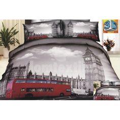 Bavlnené posteľné obliečky sivej farby s motívom mesta Londýn Amsterdam