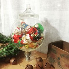 Getting creative with your vintage Mercury glass ornaments? Display them in an apothecary jar! I have both retro ornaments and apothecary jars of all shapes and sizes in my shop :)