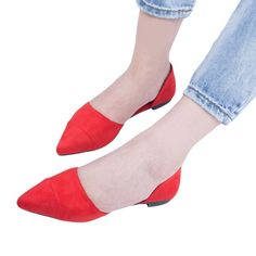 Womens Suede Pointy Toe Casual Slip Ons Classic Ballet Flats Shallow Mouth Shoes
