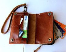 Brown Bifold leather  iPhone  wallet  wristlet   with large zipper