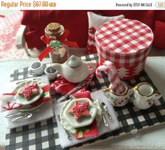 On Sale Rustic Christmas Cocoa and Cookies Dessert Tray-1:12 Scale miniature Dollhouse