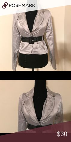 Silver satin jacket Brand new with tags , zipper detailing and belt Jackets & Coats