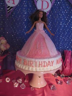 Cake at a Barbie Party #barbie #partycake