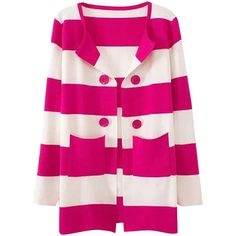 Womens Stripe Printed Color Block Patterned Cardigan Sweater (543.105 IDR) ❤ liked on Polyvore featuring tops, cardigans, rose red, stripe cardigan, print cardigan, striped top, color block cardigan and red top