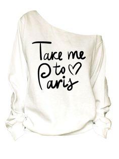 Paris print oversized off shoulder raw edge sweatshirt  ** Size chart Size: S Bust/Chest: 20 Length: 27 Sleeve Length: 35  Size: M Bust/Chest: 22