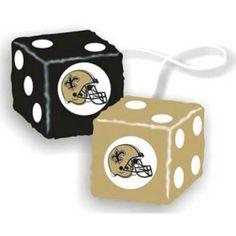New Orleans Saints NFL 3 Car Fuzzy Dice 1