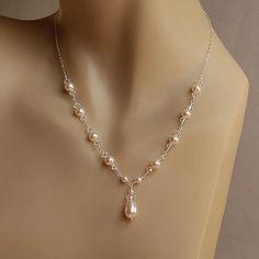 Pearl Necklace Bridal Necklace Swarovski by herecomesthebride