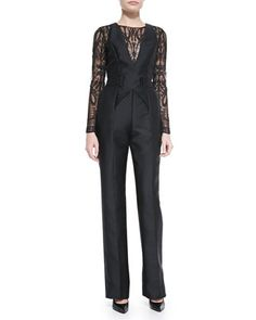 Long-Sleeve Lace-Top Jumpsuit by Zuhair Murad at Neiman Marcus.