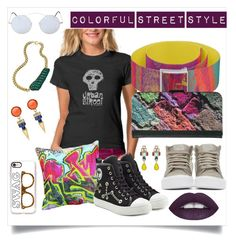 """Colorful Street Style"" by jewel-phillips ❤ liked on Polyvore featuring Moschino, Ben-Amun, Vans, Spektre, Holy Harlot and Casetify"