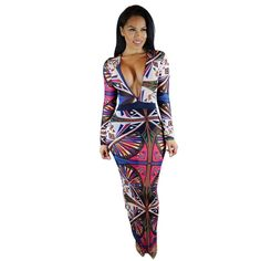 >> Click to Buy << 2017 Plus Size Sexy Women Clothing Long Sleeve Hollow Maxi Dress African Print Dresses V-Neck Bandage Bodycon Vestido Dress Robe #Affiliate