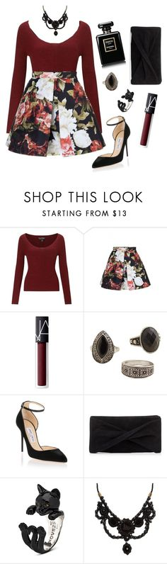 """""""Untitled #1744"""" by aginica ❤ liked on Polyvore featuring Miss Selfridge, NARS Cosmetics, MANGO, Jimmy Choo, Reiss and Gucci"""