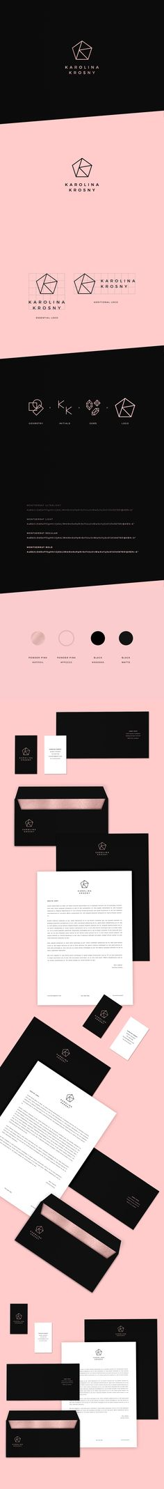 Pesonal identity branding matte black matt gold rose hotfoil geometry design logo sign karolina krosny graphic designer