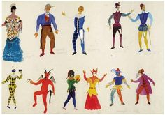Theatrical costumes. Drawing by artist Spyros Vassiliou.