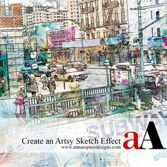Create an Artsy Sketch Effect for digital artistry, crafting, photo manipulation and scrapbooking in Adobe Photoshop and Elements.