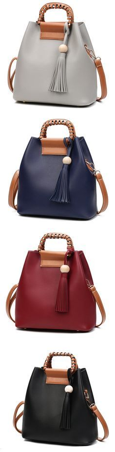 US$25.79 Stylish PU Leather Handbag Bucket Bag Shoulder Bags Crossbody Bags For Women